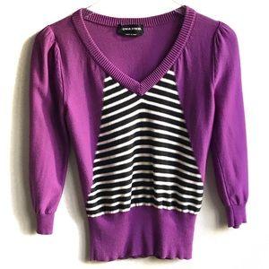 Sonia Rykiel V-Neck Stripe Sweater 38